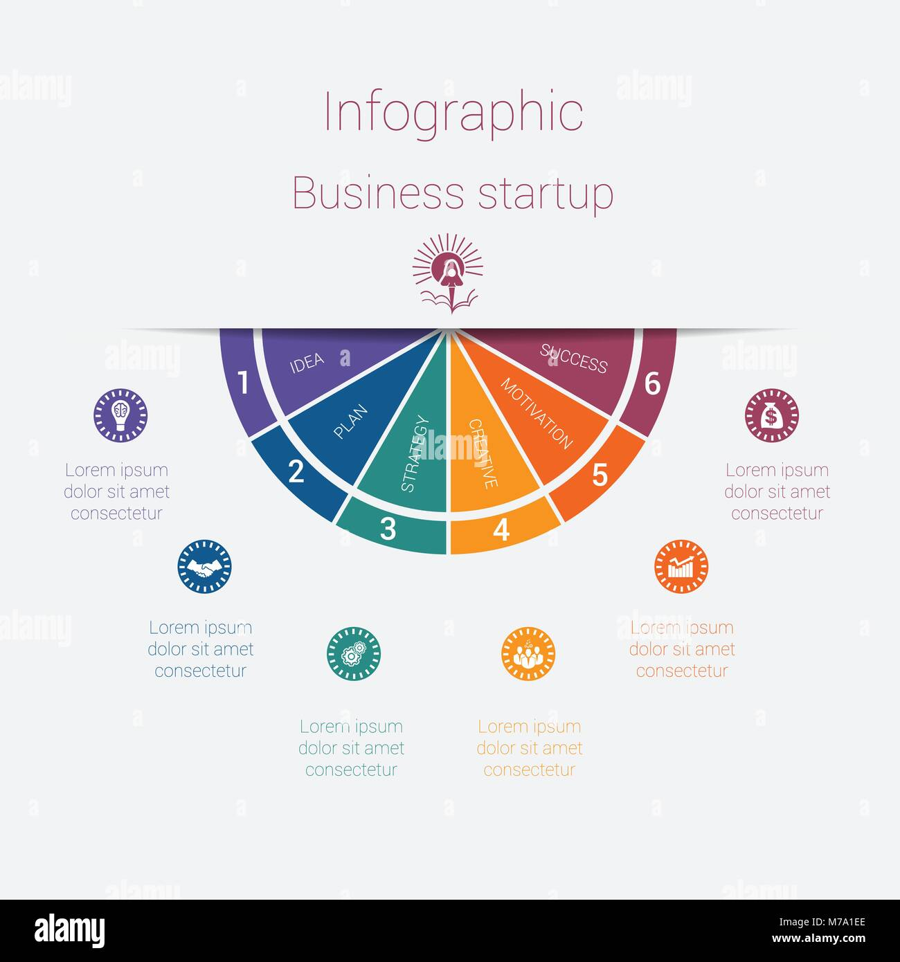 Vector semicircle template infographics startup business concept vector semicircle template infographics startup business concept with 6 parts options steps illustration for cyclical diagram pie chart area char cheaphphosting Gallery
