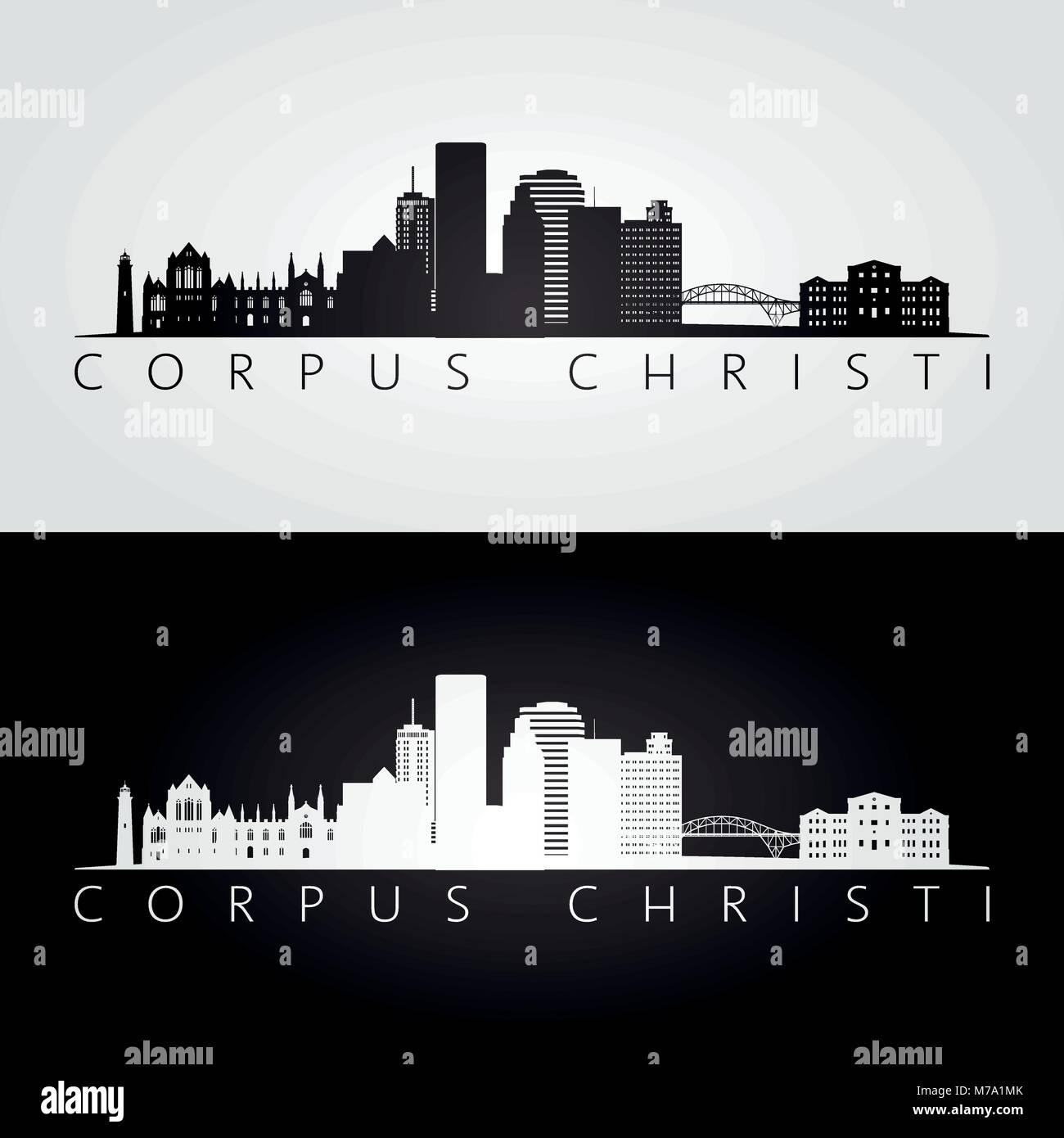 Corpus Christi usa skyline and landmarks silhouette, black and white design, vector illustration. - Stock Vector