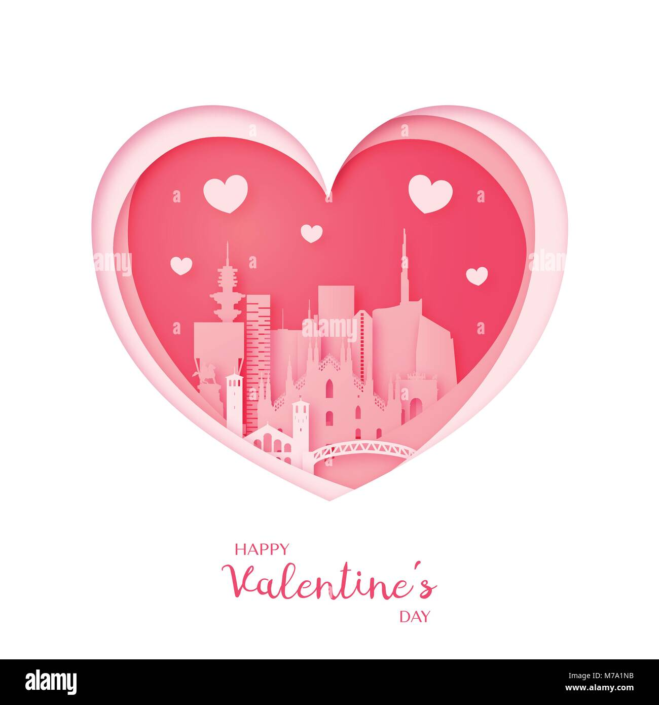 Valentines card. Paper cut heart and city of Milan. Happy Valentine's day. Vector illustration. - Stock Vector