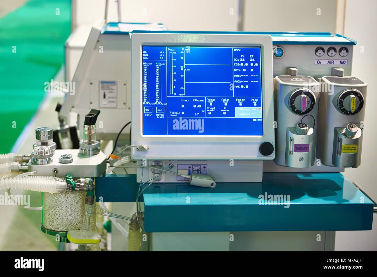 Inhalation anaesthetic machine with monitor - Stock Image