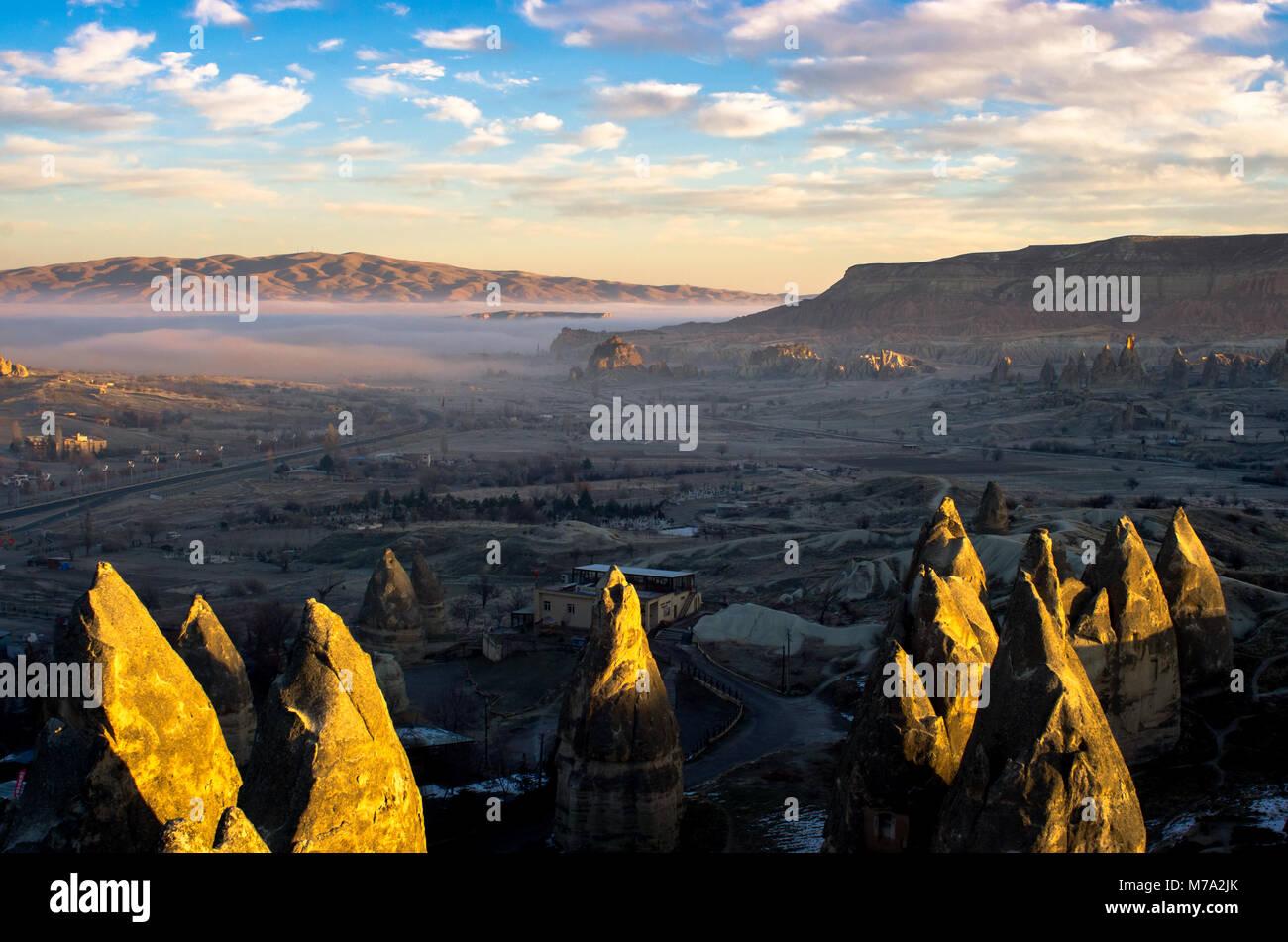 Mist over the mystical landscape of Cappadocia, Turkey - Stock Image