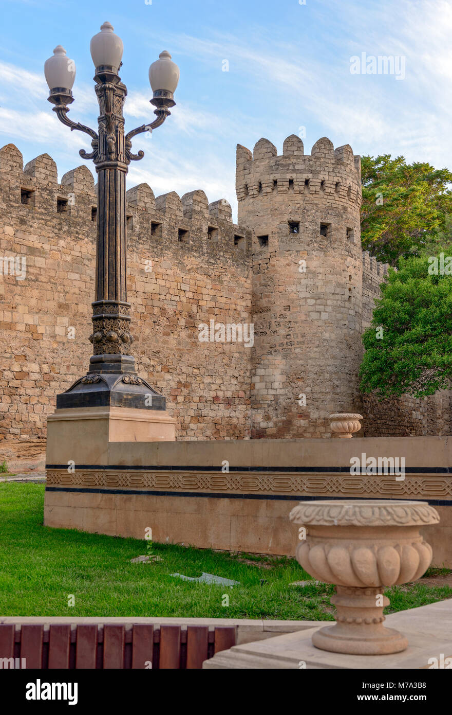 Ancient fortress wall in old city Baku, Azerbaijan - Stock Image