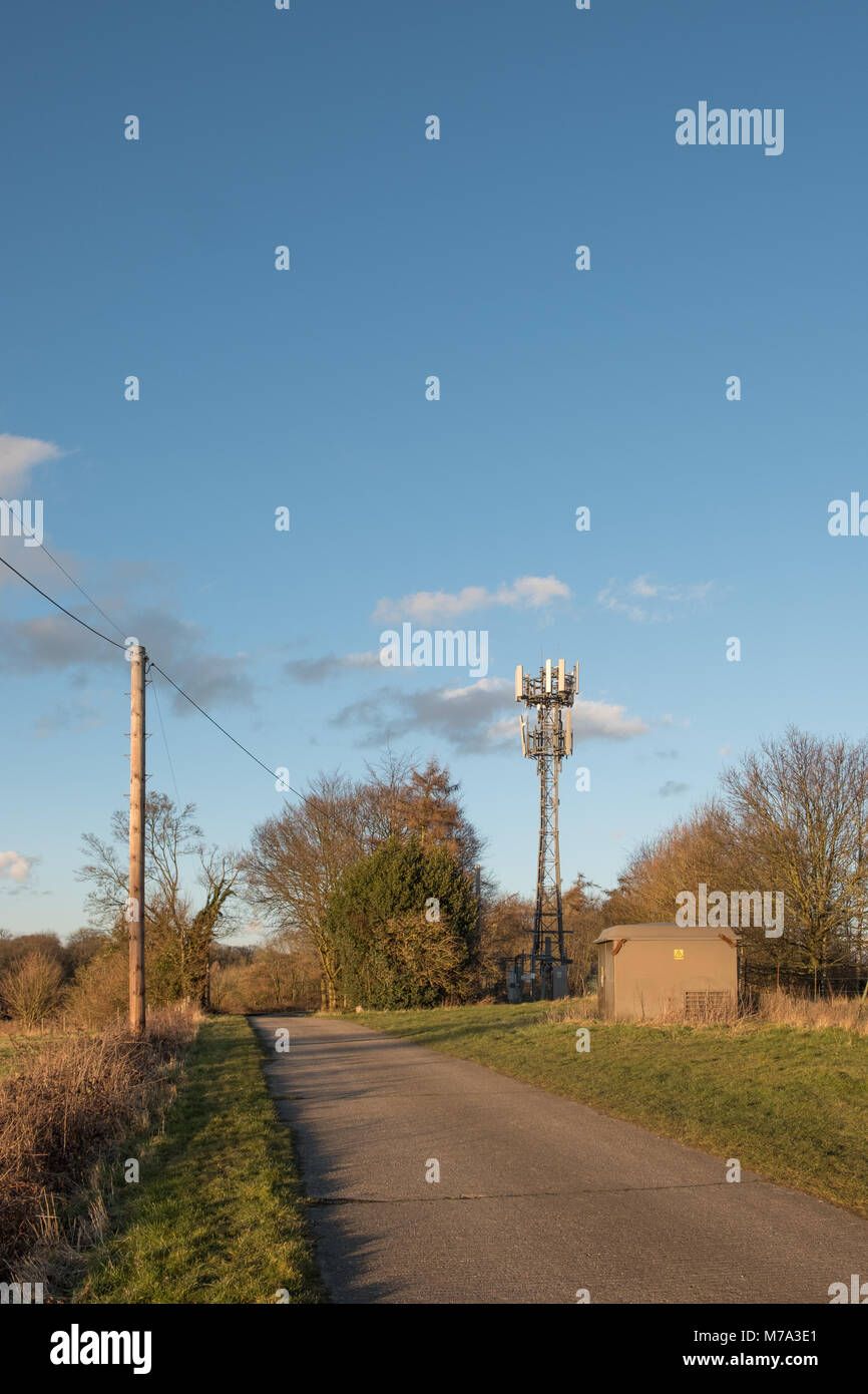 Isolated repeater station mast for cell phones situated in Hertfordshire - Stock Image