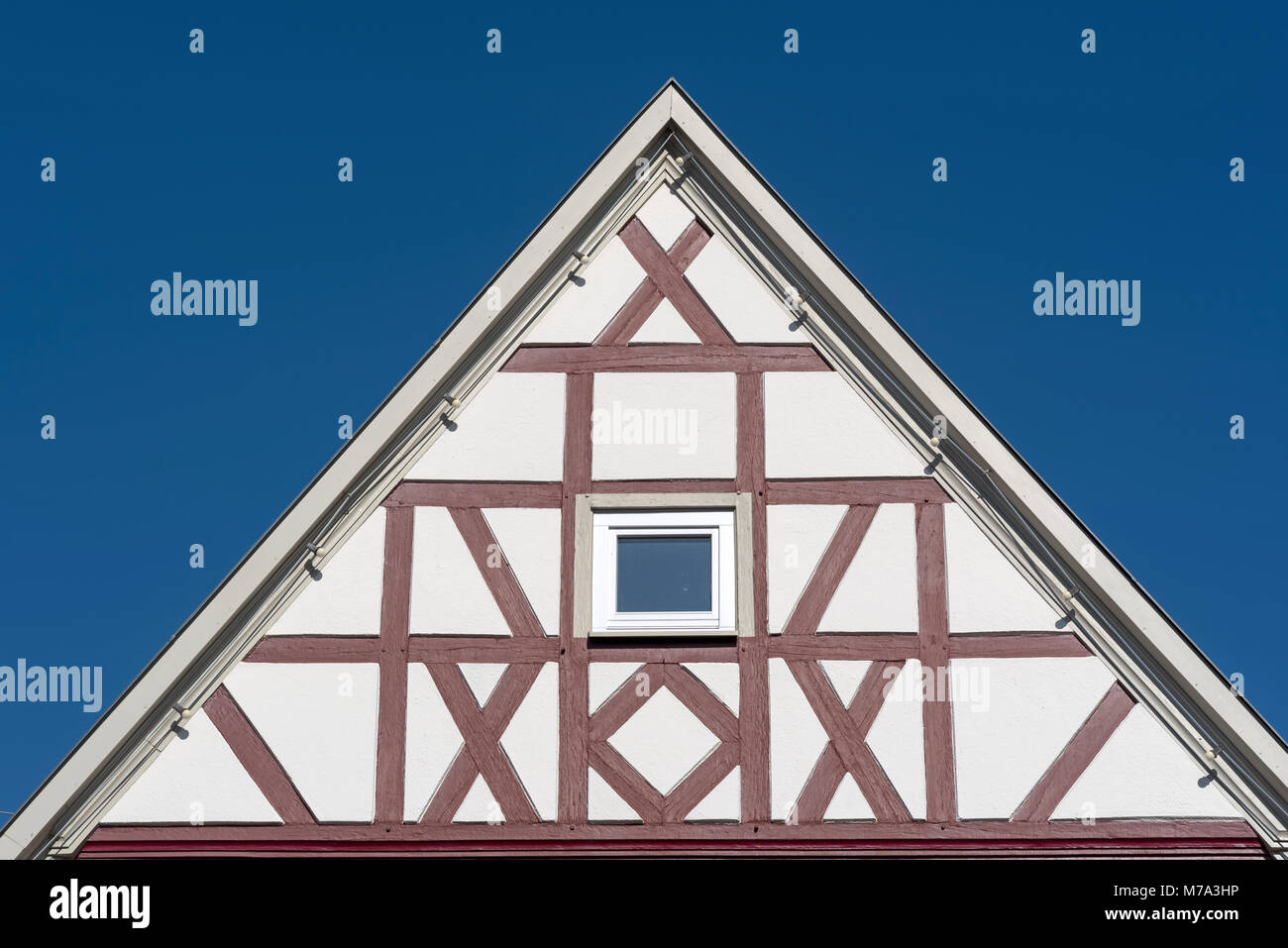 Gable of half-timbered house, Southern Germany - Stock Image