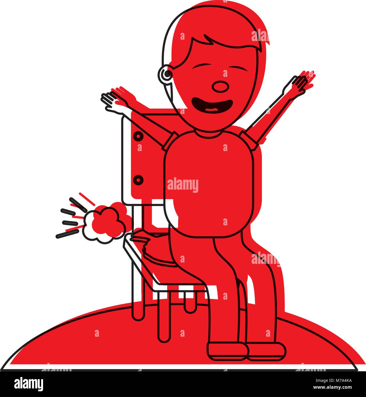 sad man sitting in chair with whoopee cushion - Stock Vector