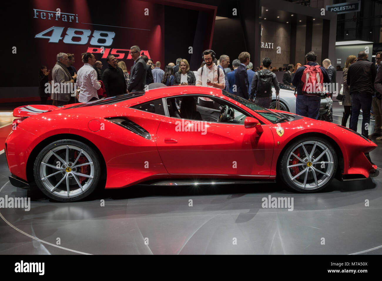 geneva switzerland march 6 2018 new ferrari 488 pista sports car stock photo 176629738 alamy. Black Bedroom Furniture Sets. Home Design Ideas