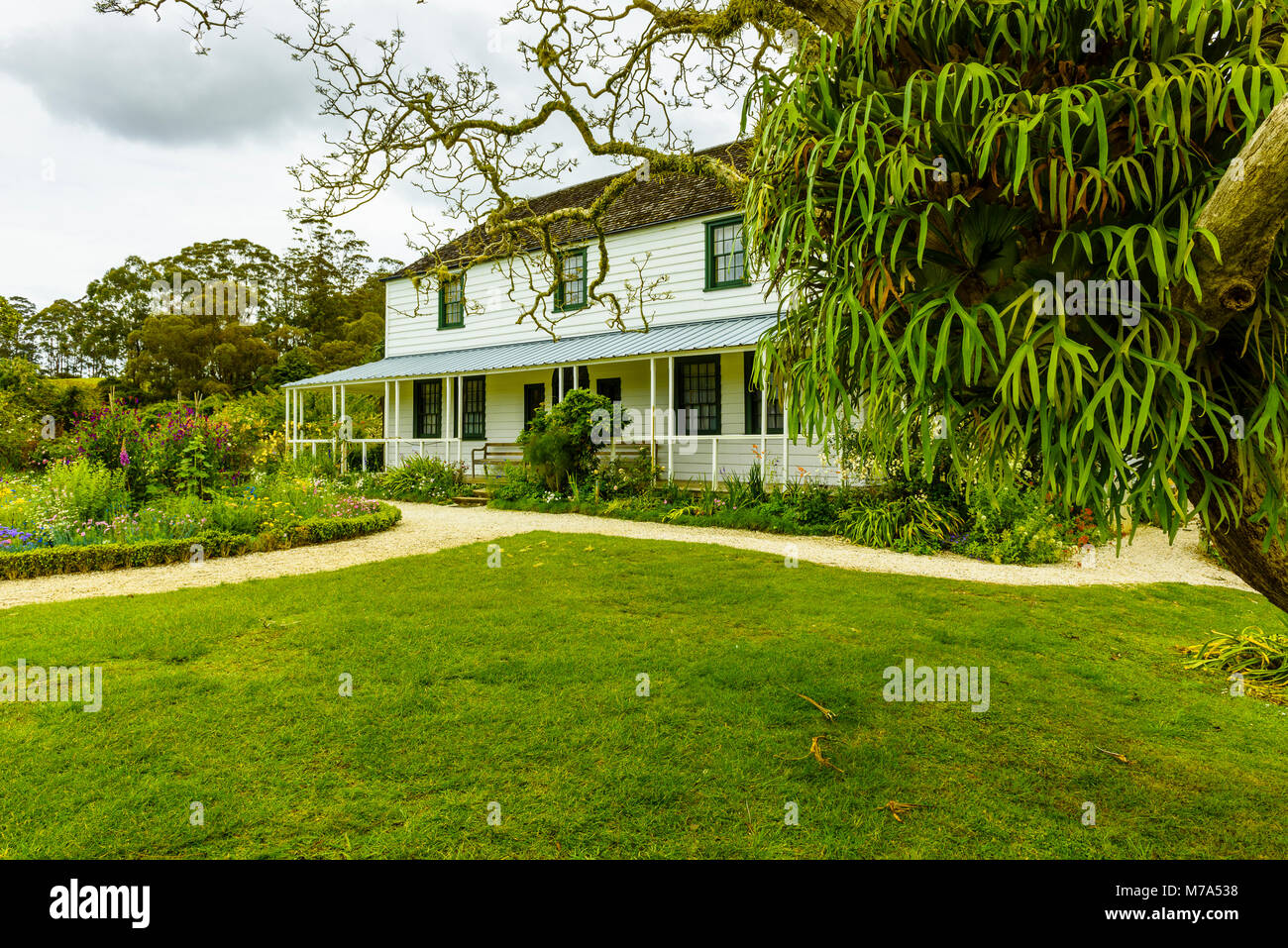 The Mission House, also called the Kemp House, Kerikeri, North Island, New Zealand. It is the oldest extant wooden Stock Photo