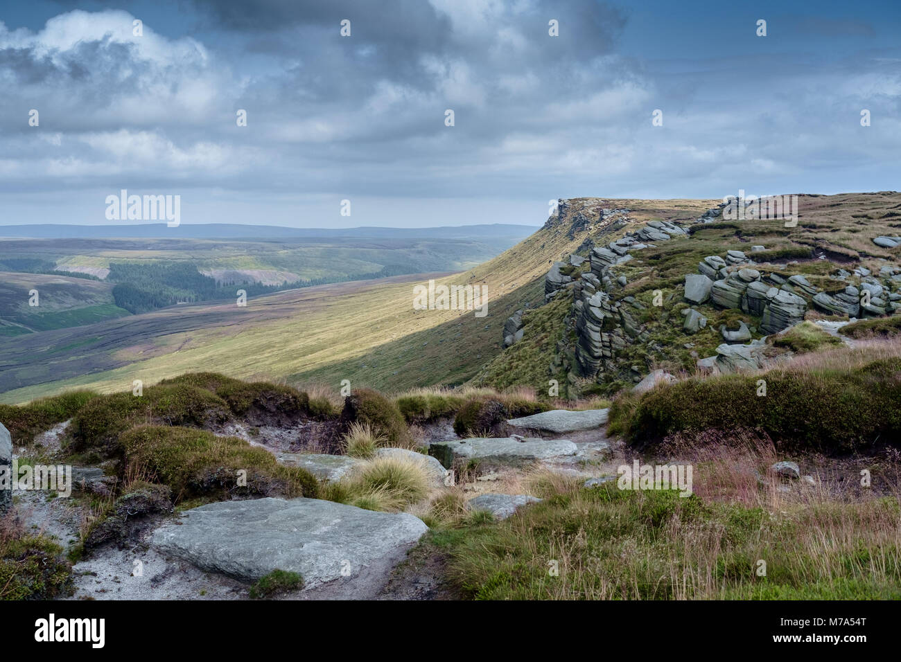 View along the ridge of Kinder Scout in the Peak District National Park, England. - Stock Image