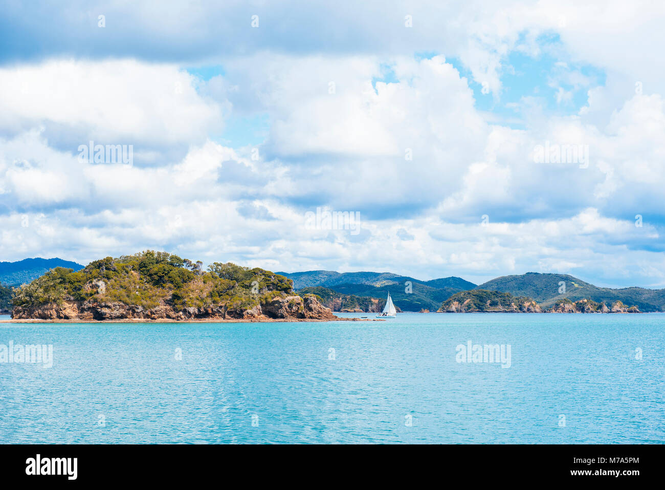 Yacht in the Bay of Islands, North Island, New Zealand - Stock Image