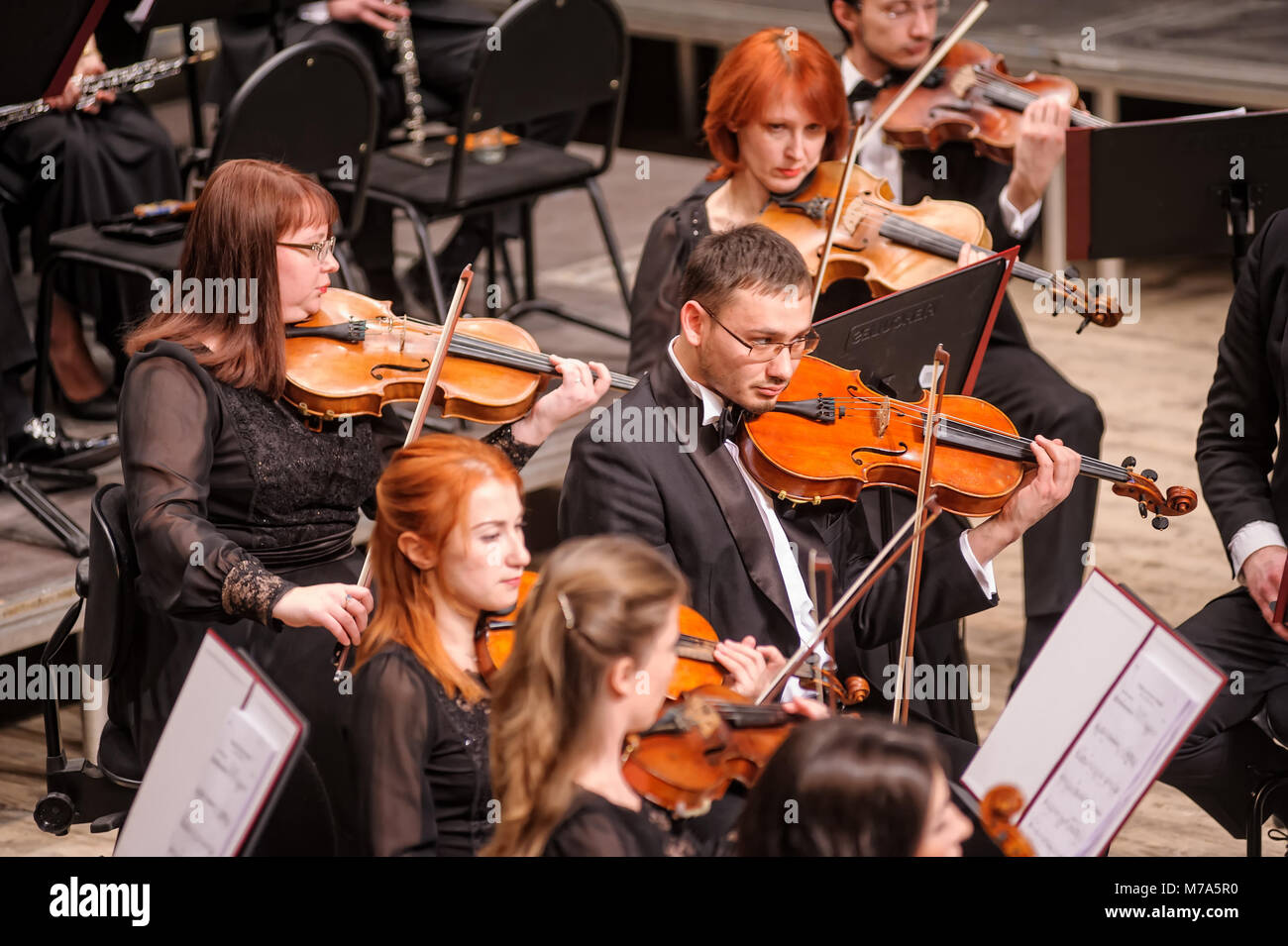 Violin group of orchestra plays Stock Photo: 176630356 - Alamy