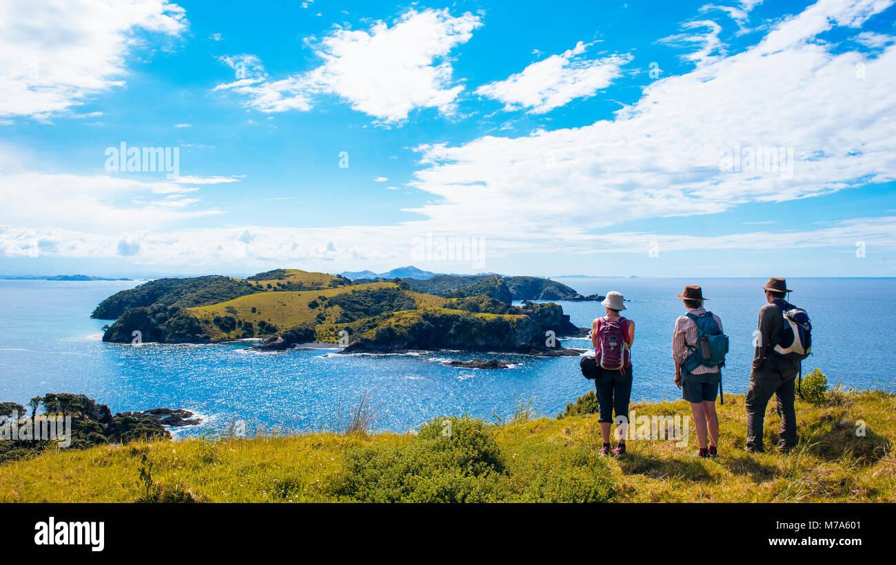 Hikers on Urupukapuka Island in the Bay of Islands, North Island, New Zealand, looking towards Waewaetorea Island - Stock Image