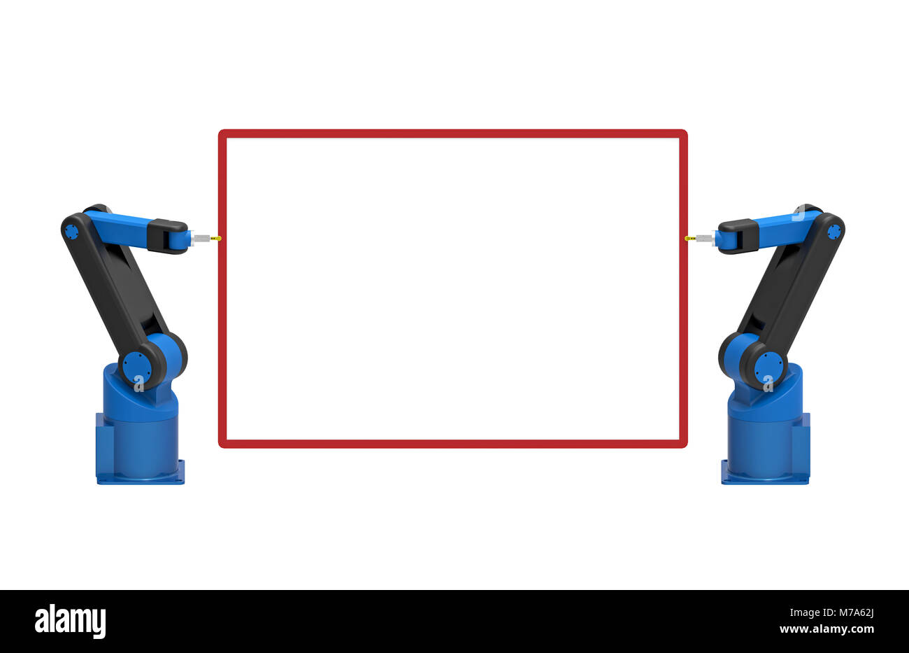 Two robots holding empty blank board, 3d rendering, on white background - Stock Image