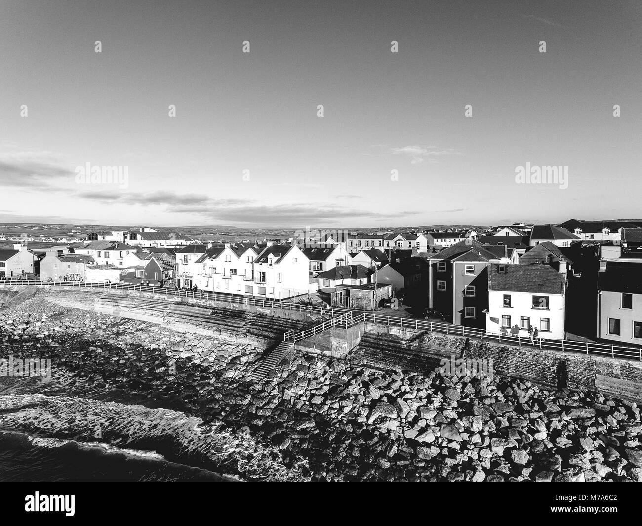 Aerial view of Ireland's top surfing town and beach in Ireland. Lahinch Lehinch town and beach in county clare. - Stock Image