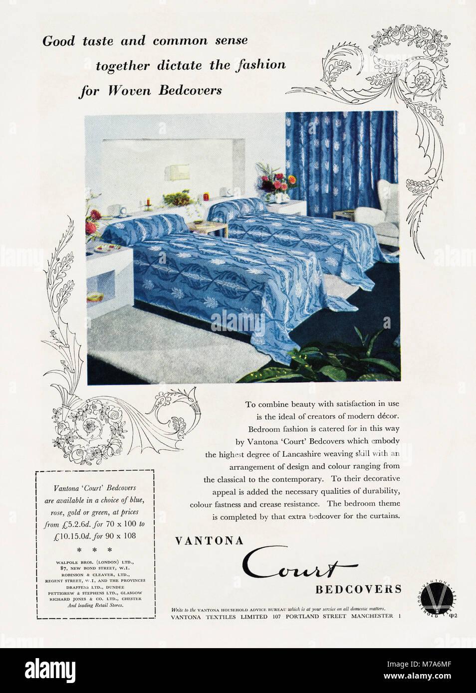 1950s original old vintage advertisement advertising vantona court