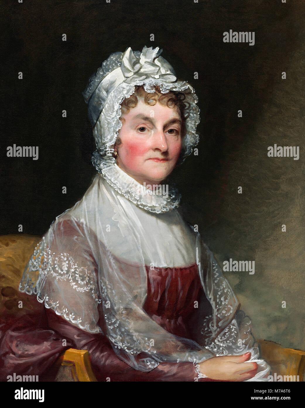 Abigail Adams (nee Smith: 1744-1818), wife of 2nd US President John Adams. Portrait by Gilbert Stuart, oil on canvas, - Stock Image