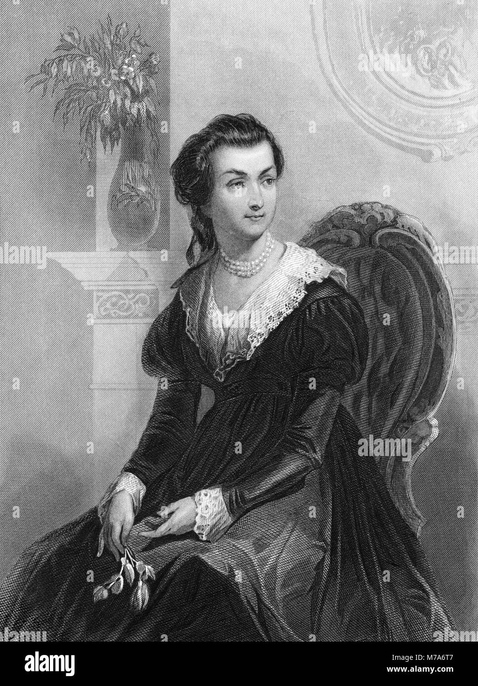 Abigail Adams (nee Smith: 1744-1818), wife of 2nd US President John Adams. Engraving by Christian Schussele, 1856. - Stock Image