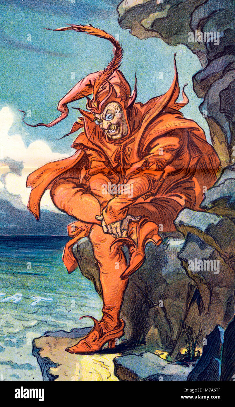 An early 20th century illustration of Theodore Roosevelt as The Devil, published in 1912 - Stock Image