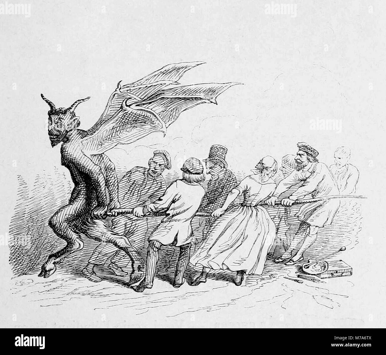 Pulling the Devil by the Tail, a 19th century woodcut by J J Grandville - Stock Image