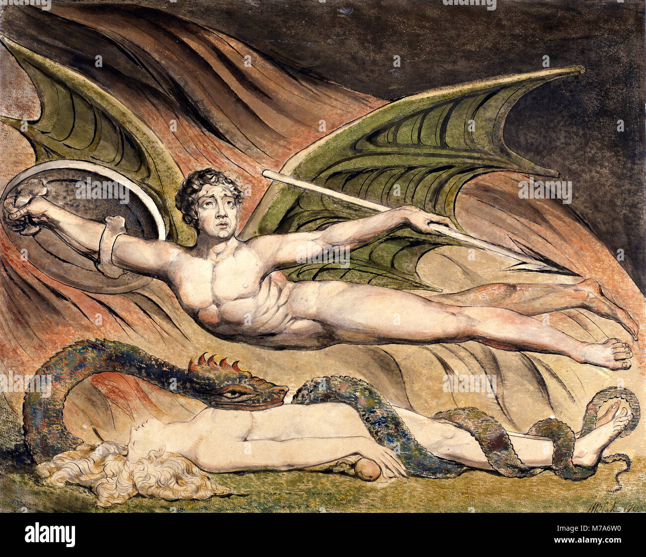 Satan Exulting over Eve by William Blake (1757-1827), 1795 - Stock Image