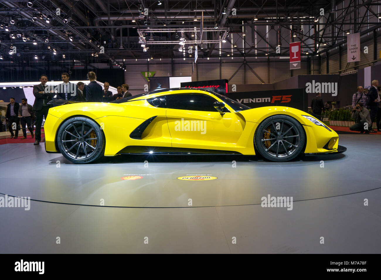 The Hennessey Venom F5 on show at the Geneva Motor Show at the Palexpo Convention Centre, March 07, 2018 in Geneva, - Stock Image