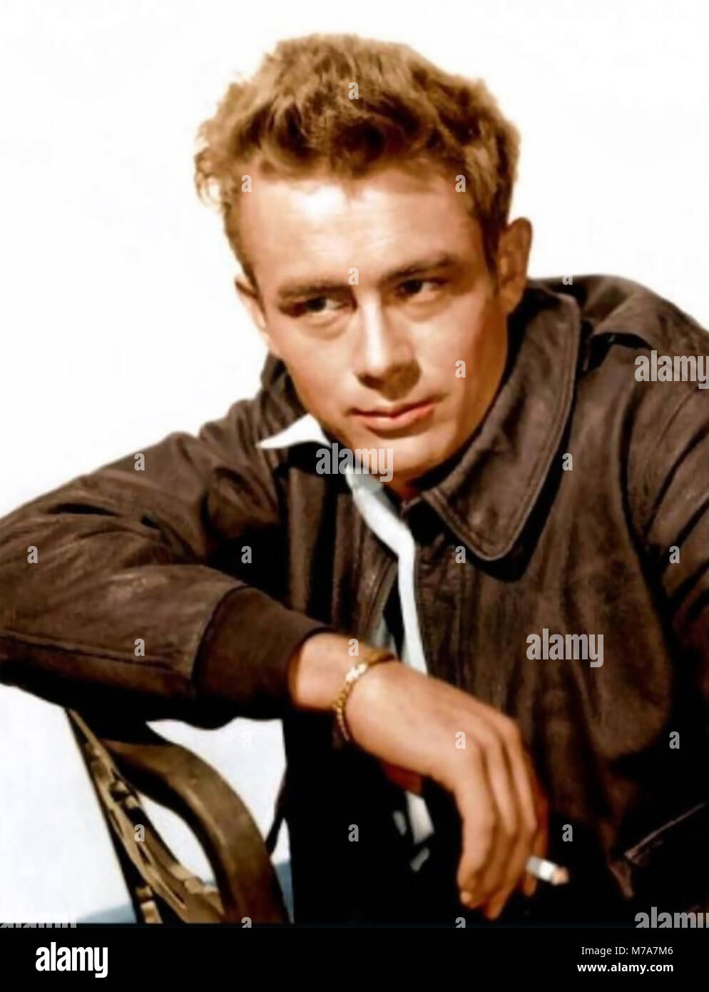 JAMES DEAN (1931-1955) American film actor in 1955 while shooting Rebel Without a Cause - Stock Image