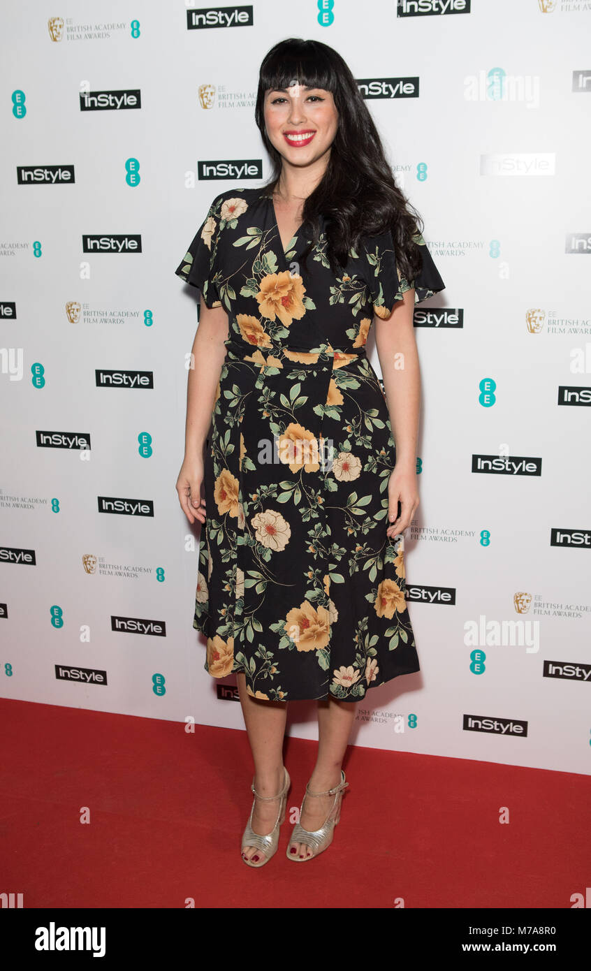 Guests attend event as fashion and beauty title throws annual party to celebrate the EE British Academy Film Awards Stock Photo