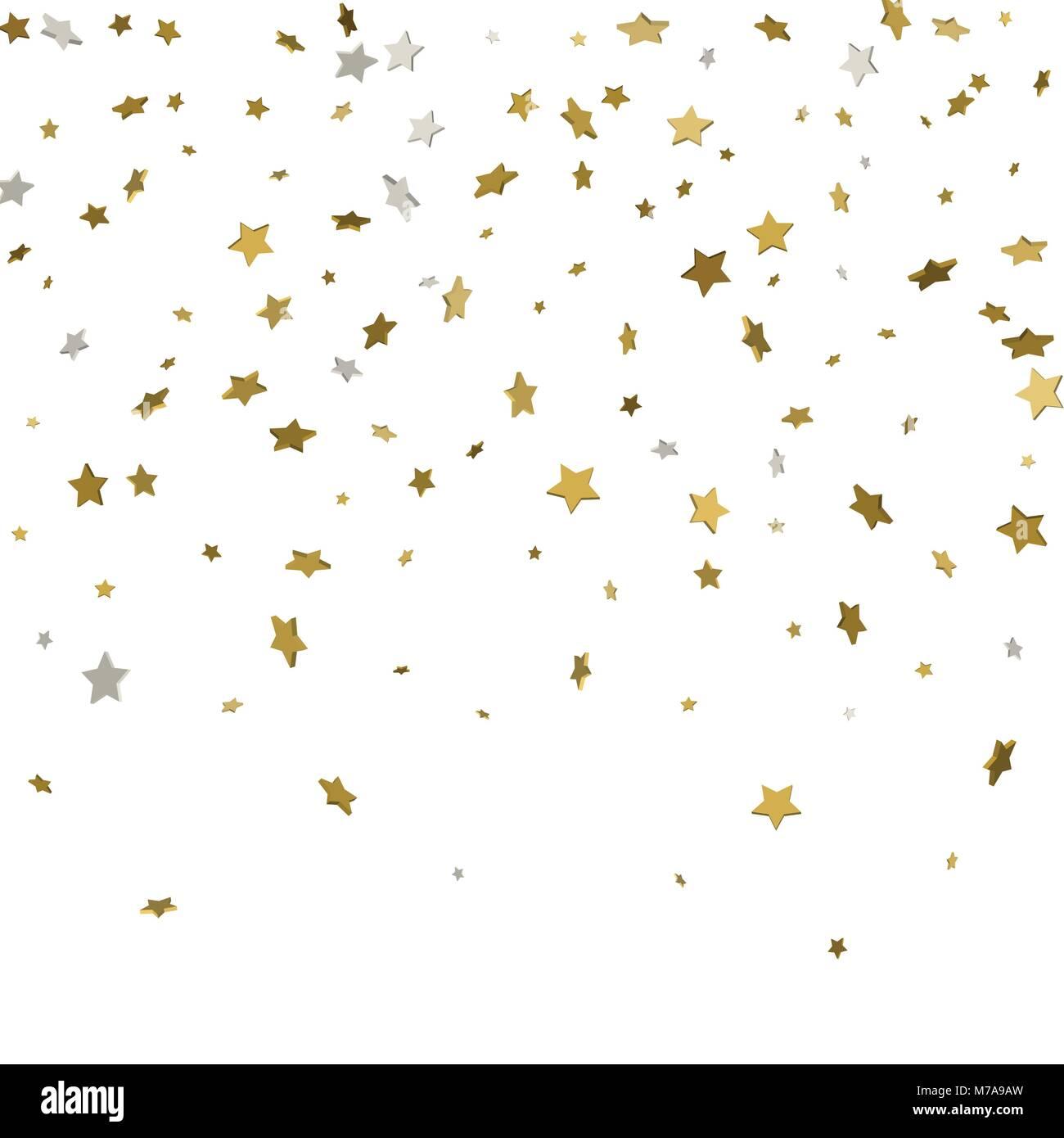 Festive flying gold stars shower. 3d. Vector illustration - Stock Image