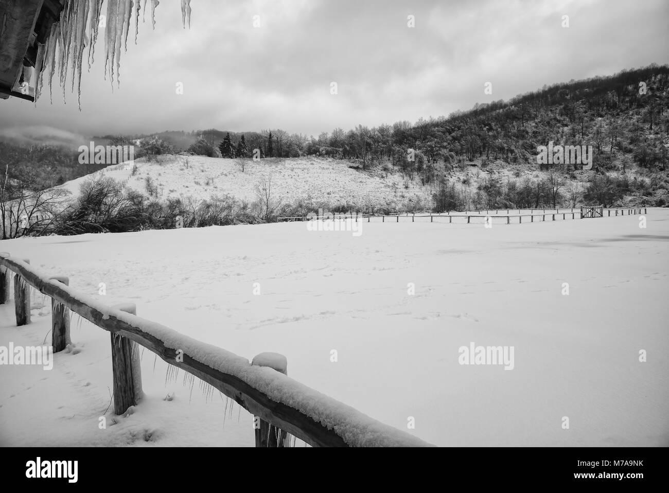 Snow and ice in Santo Stefano d'Aveto - Liguria - Italy Stock Photo