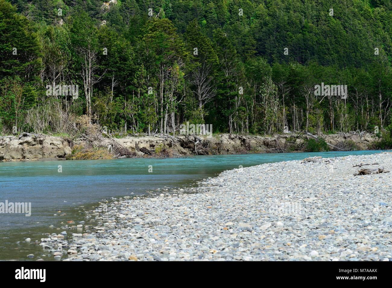 Shore of the Río Ibáñez, Carretera Austral, near Bahia Murta, also Puerto Murta, Región de Aysén, - Stock Image