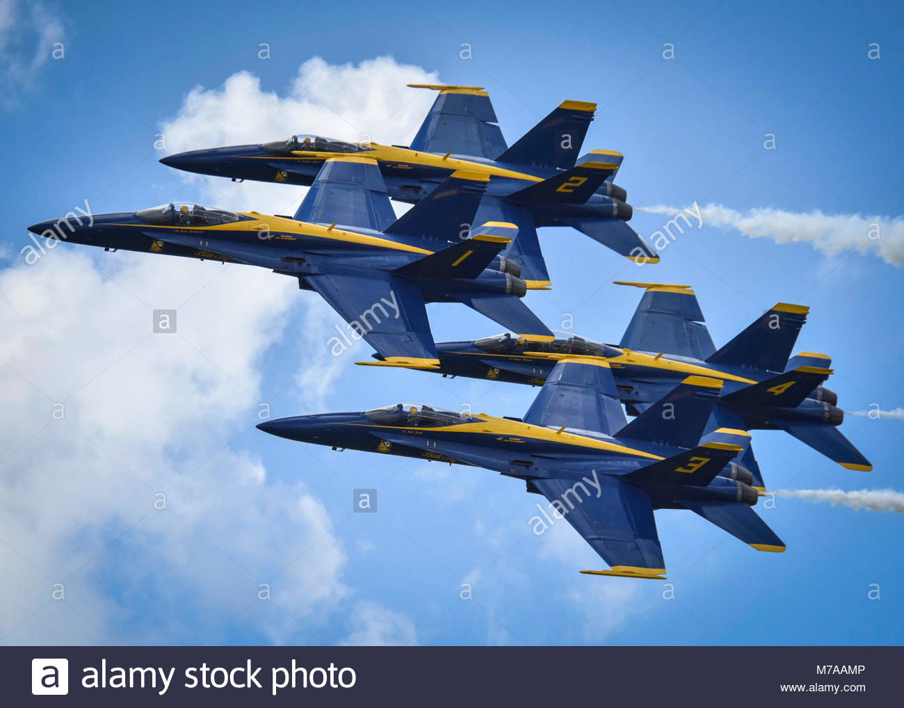 April 22, 2017) The U.S. Navy flight demonstration team, the Blue Angels, fly in formation over Naval Air Station Stock Photo