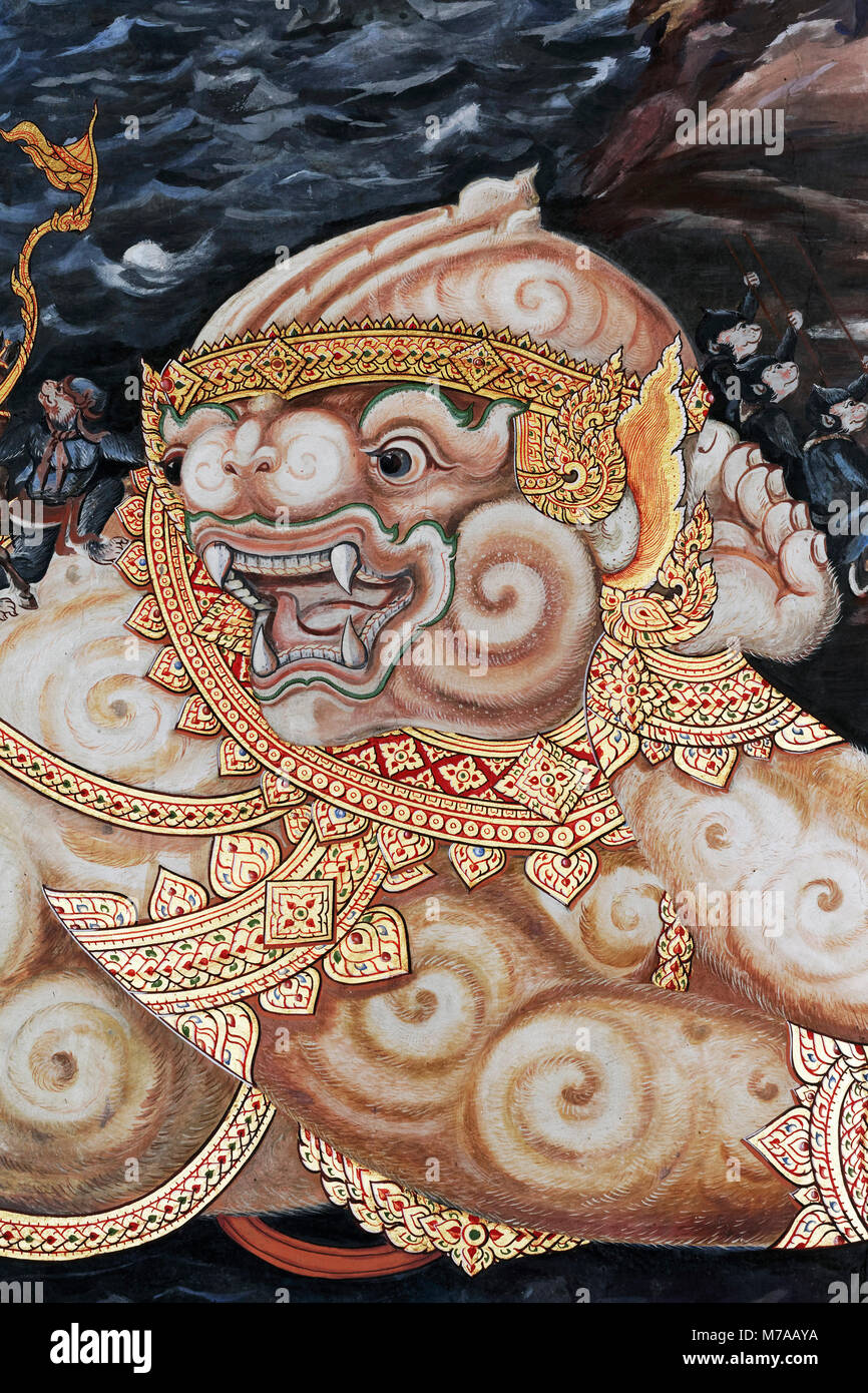 Demon, figure from the Thai national epic Ramakia, wall painting in Wat Phra Kaeo, Ko Ratanakosin, Bangkok, Thailand - Stock Image