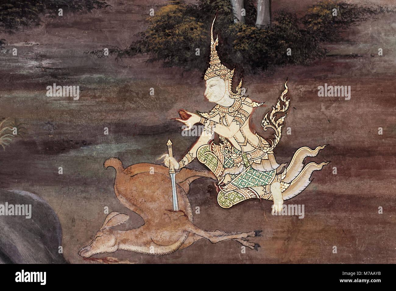 King Rama takes the heart from a killed deer, scene from Ramakia, walls in Wat Phra Kaeo, Ko Ratanakosin, Bangkok, - Stock Image
