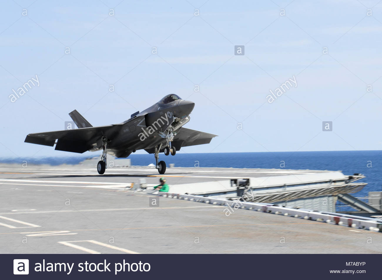 Sept. 4, 2017) An F-35C  Lightning II assigned to the Grim Reapers of Strike Fighter Squadron (VFA 101) launches - Stock Image