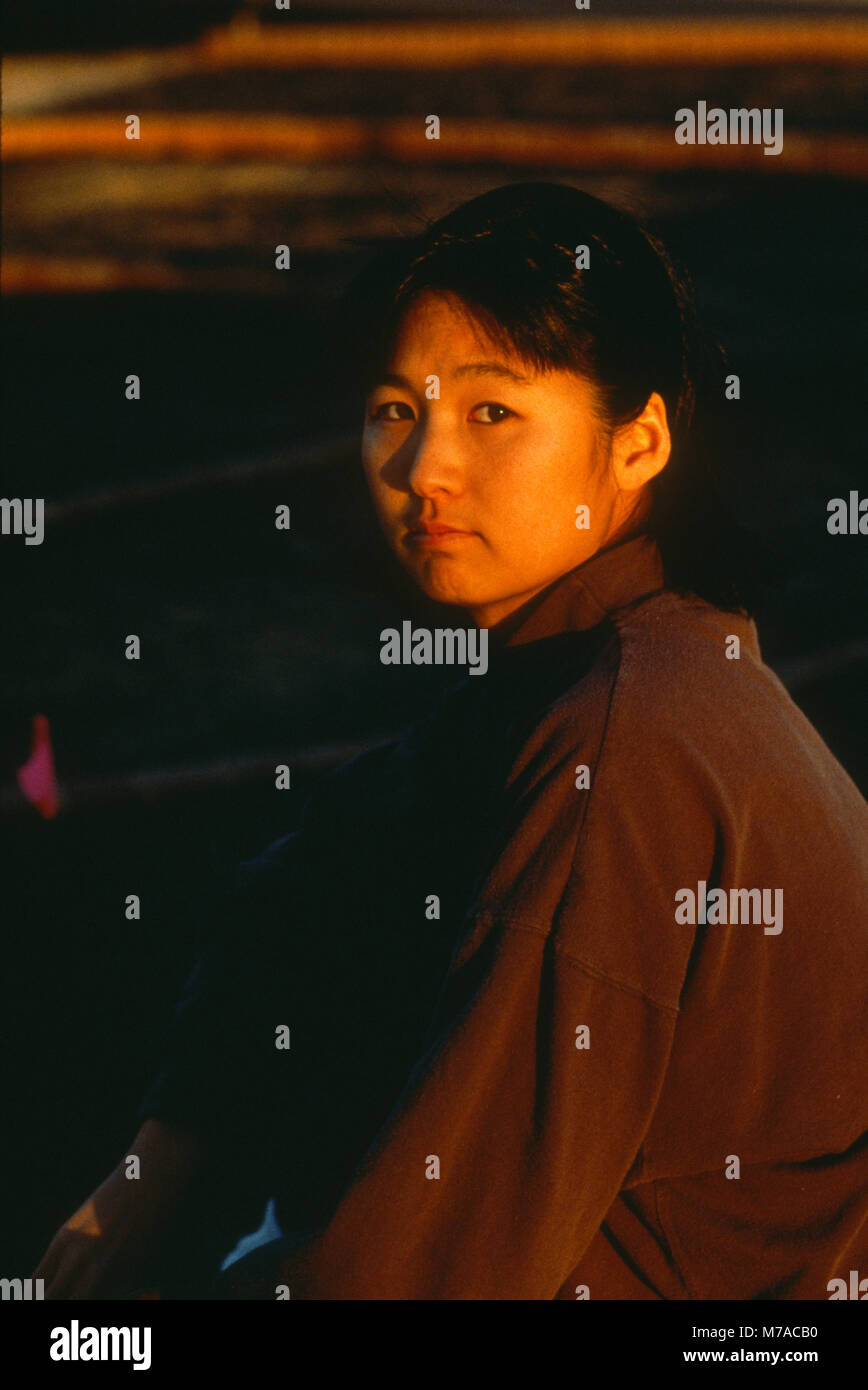 Portrait of Maya Lin in Charlotte, North Carolina, 1990 at the site of a topiary installation she designed. - Stock Image