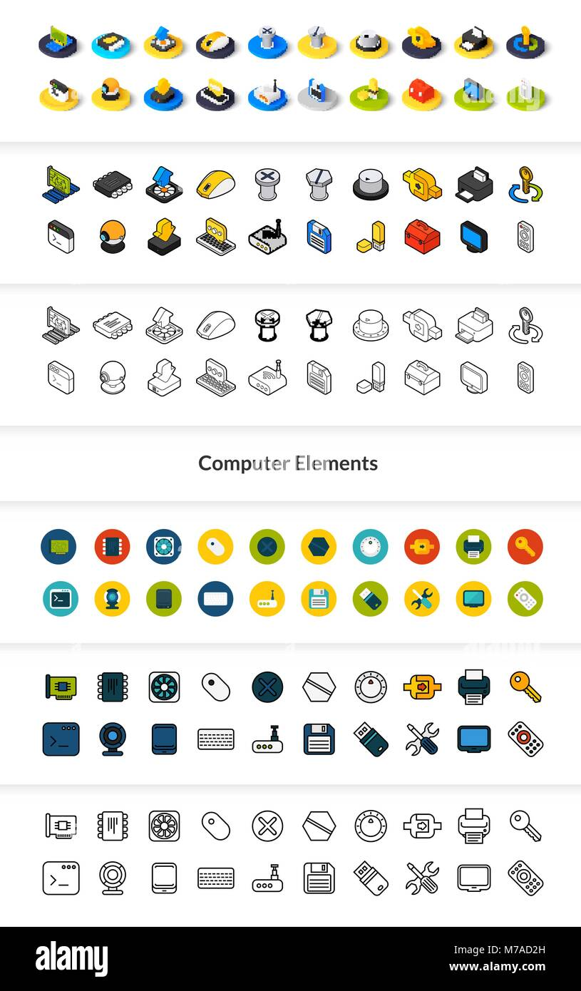 Set of icons in different style - isometric flat and otline, colored and black versions, vector symbols - Computer Stock Vector