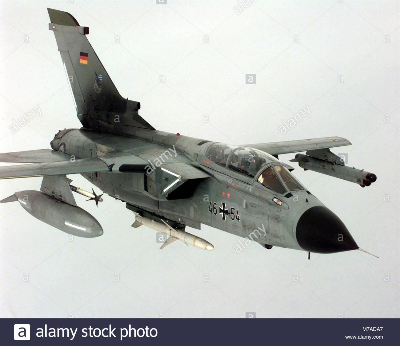 Panavia Tornado. A German Air Force Panavia Tornado of JbG-32, Lechfeld, Germany, with an AIM-9 Sidewinder air-to - Stock Image