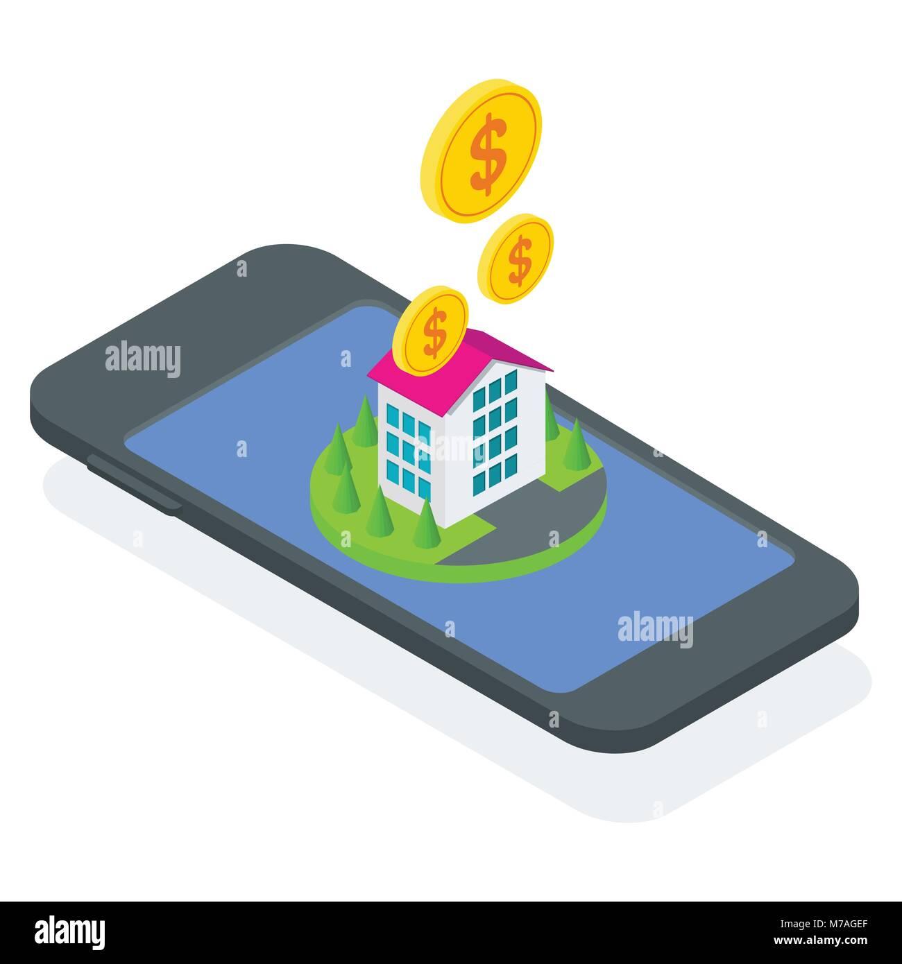 isometric concept buy house - Stock Image