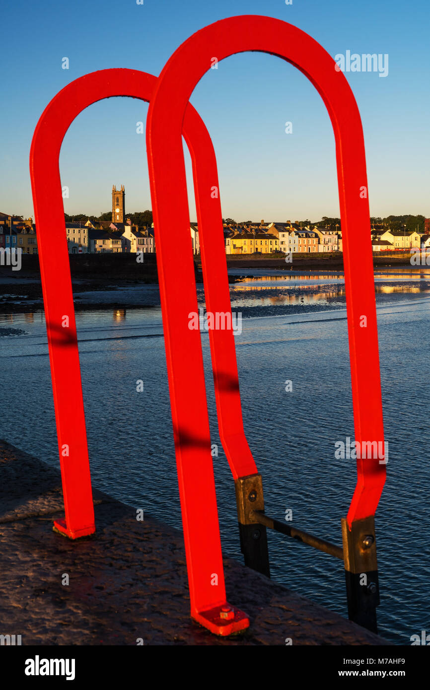 sheet piling ladder, harbour of Donaghadee - Stock Image