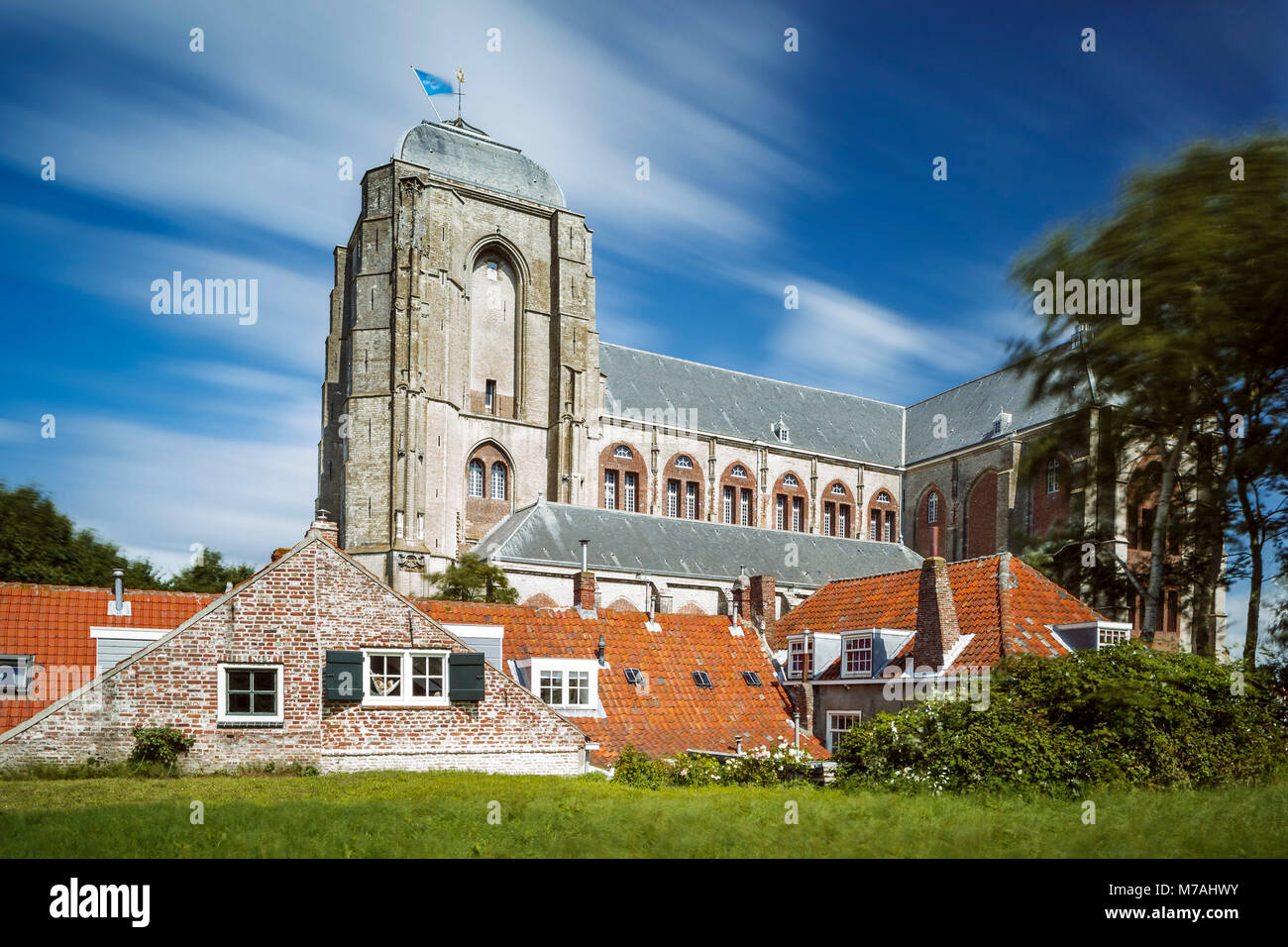 The Grote Kerk (big church) from Veere on Zeeland / the Netherlands in a long time exposure, daylight shot with - Stock Image