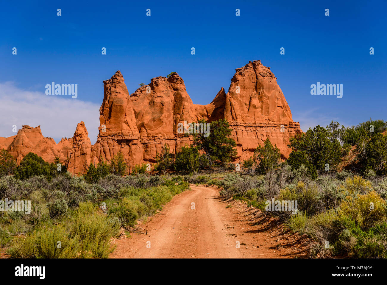 The USA, Utah, Kane County, Kodachrome Basin State Park, Gravel Road - Stock Image