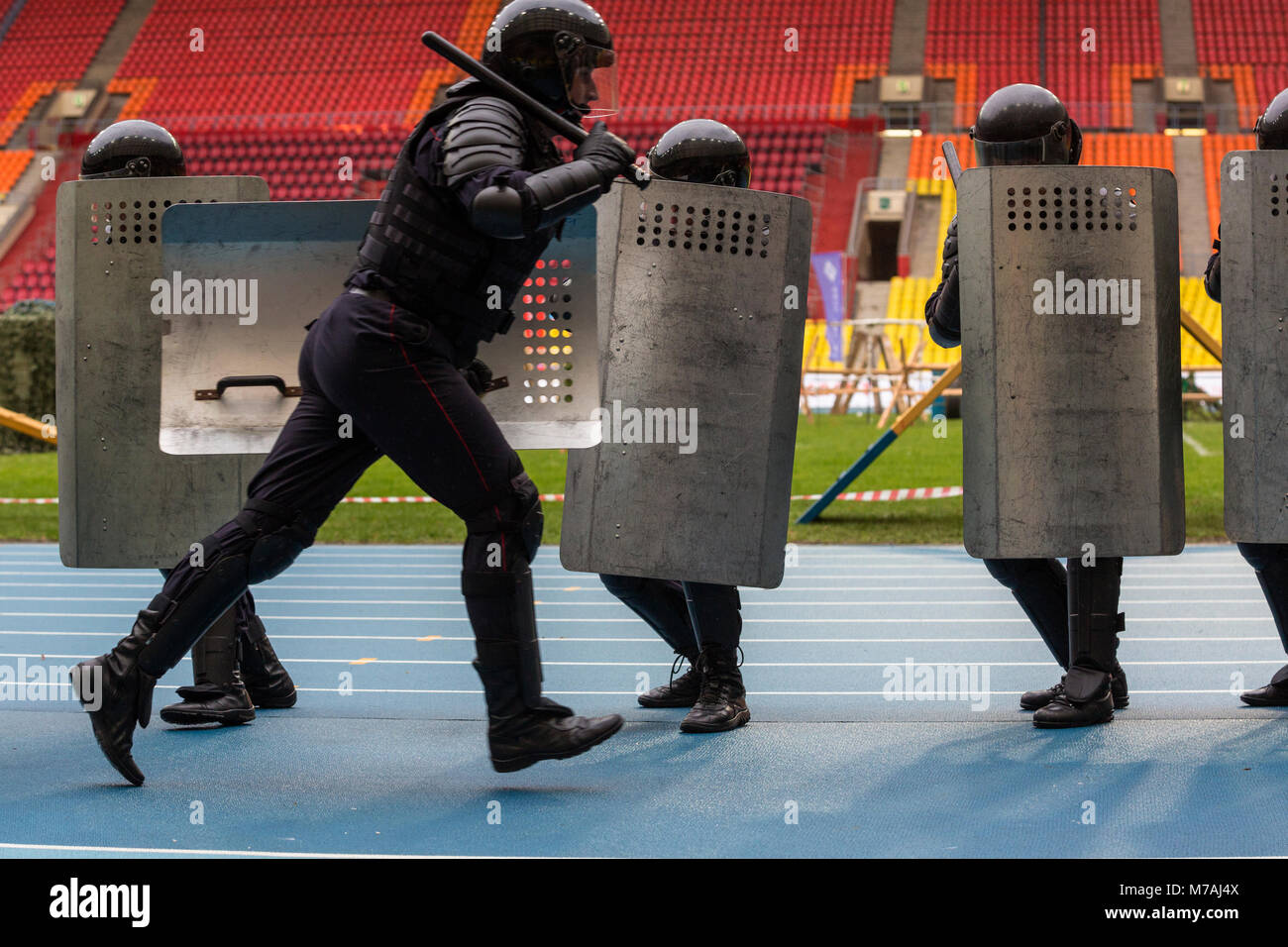 Demonstrative performance of a Russia riot police special forces (OMON) at Luzhniki stadium during celebration the - Stock Image