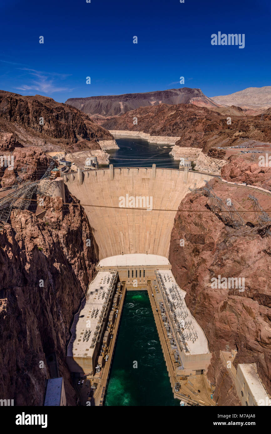 The USA, Nevada, Clark County, Boulder city, Lake Mead National Recreation Area, Hoover Dam Stock Photo