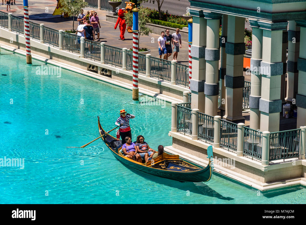The USA, Nevada, Clark County, Las Vegas, Las Vegas Boulevard, The Strip, The Venetian, Canale Grande with gondola - Stock Image