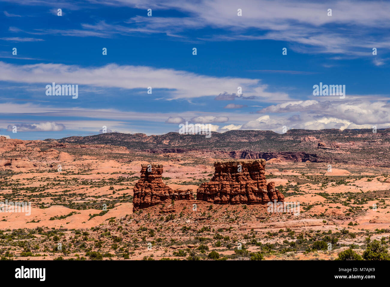 The USA, Utah, Grand county, Moab, Arches National Park, Petrified Dunes, view from the La Sal Mountains Viewpoint - Stock Image