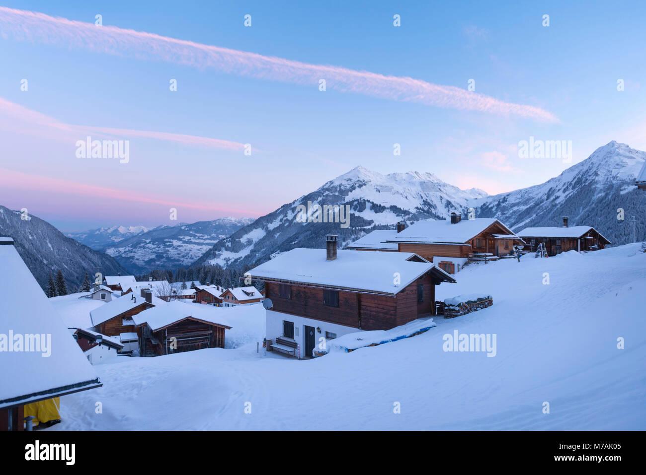 Austria, Montafon, Garfrescha, morning hour in Garfrescha, a village made of huts. - Stock Image