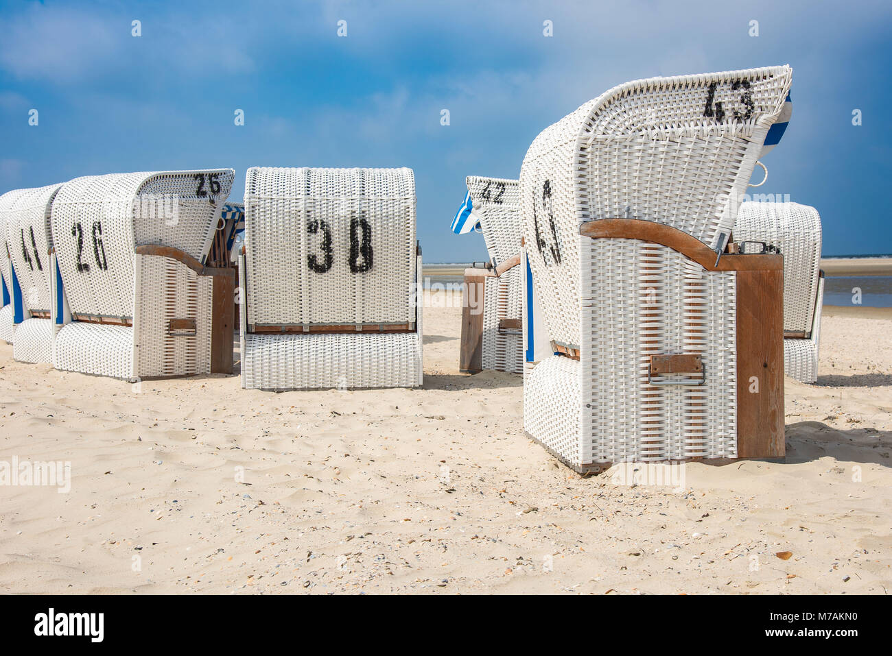 Europe, Germany, the North Sea, Lower Saxony, the East Frisians, Spiekeroog, beach chairs on the beach of Spiekeroog Stock Photo