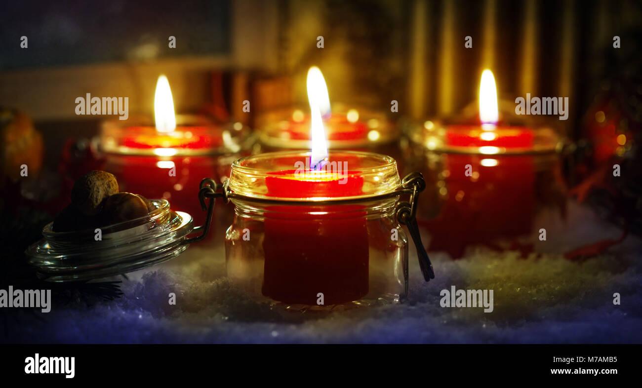Candles, Christmas Eve - Stock Image