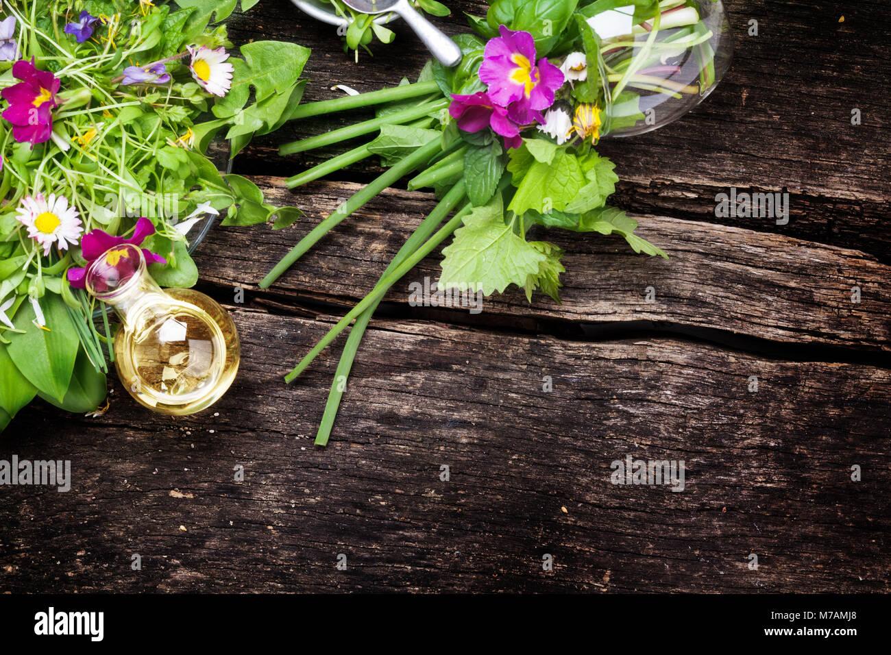 Spring salad edible wild herbs flowers stock photo 176641984 alamy spring salad edible wild herbs flowers mightylinksfo