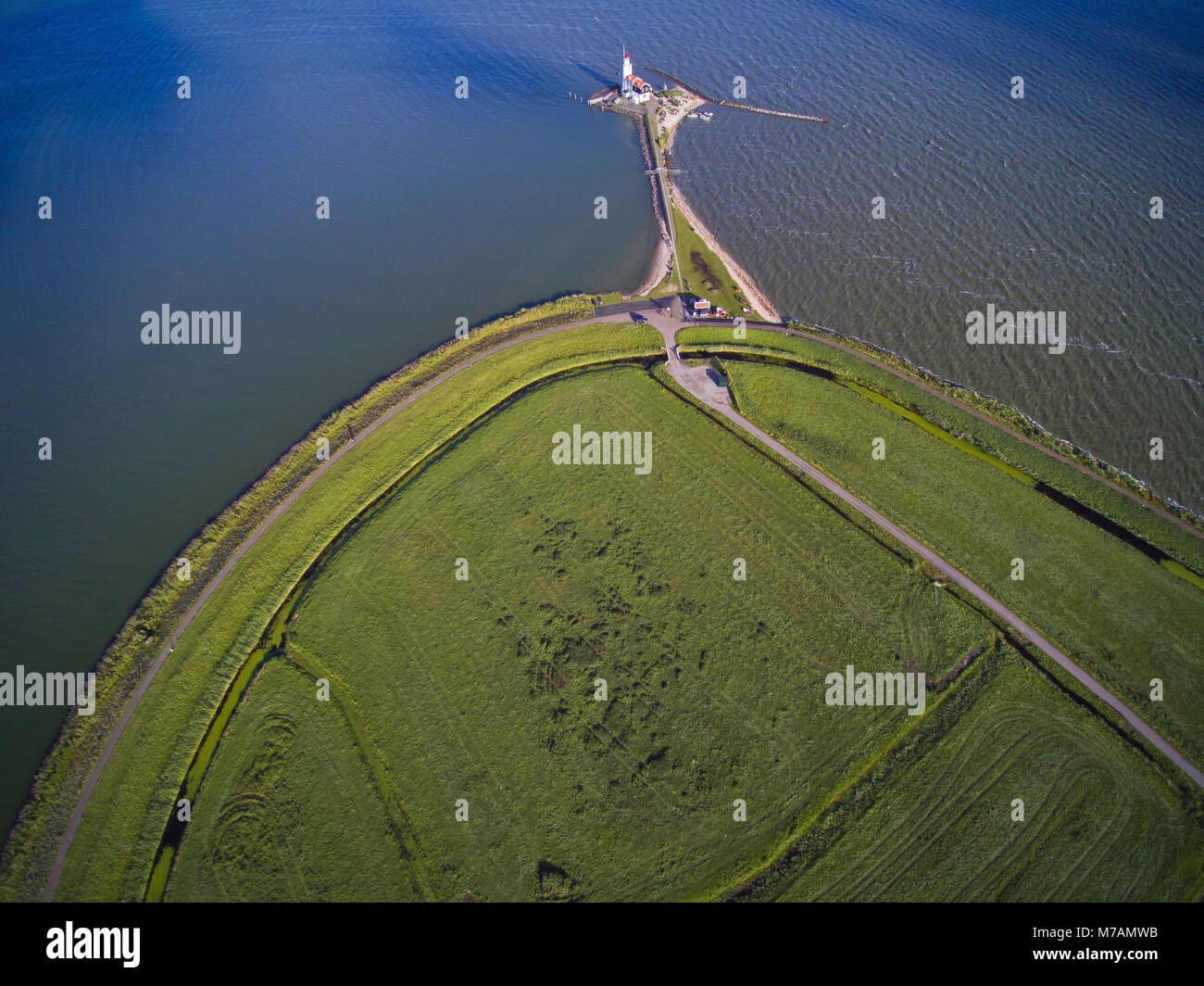 Lighthouse on the Marker Meer close Amsterdam, the Netherlands, aerial shots - Stock Image