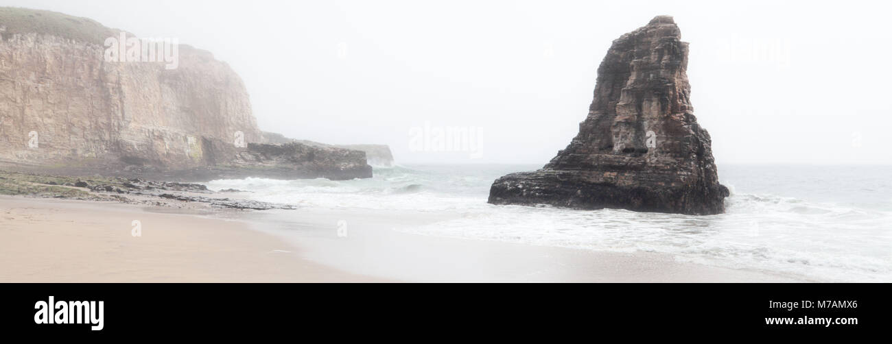 California, Pacific coast, Davenport, Shark Fin Rock, beach - Stock Image